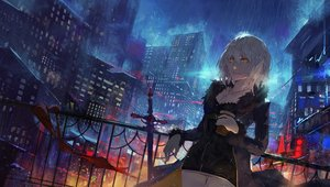 Rating: Safe Score: 74 Tags: blonde_hair building city cross drink fate/apocrypha fate_(series) jeanne_d'arc_alter jeanne_d'arc_(fate) kuroduki necklace night rain short_hair sword water weapon yellow_eyes User: FormX