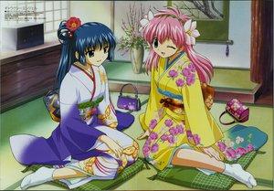 Rating: Safe Score: 20 Tags: galaxy_angel japanese_clothes karasuma_chitose kimono megami milfeulle_sakuraba pink_hair scan socks User: Oyashiro-sama