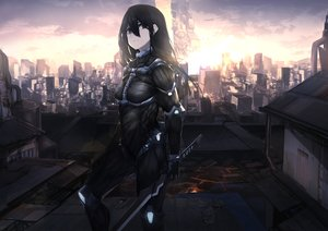 Rating: Safe Score: 59 Tags: black_eyes black_hair bodysuit building city clouds fixro2n katana long_hair rooftop skintight sky sunset sword weapon User: otaku_emmy
