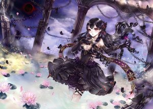 Rating: Safe Score: 99 Tags: animal black_hair breasts butterfly chain choker cleavage clouds dress elbow_gloves flowers garter gloves gothic haruci long_hair original petals red_eyes rose water User: FormX