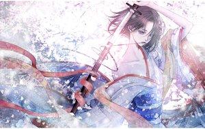 Rating: Safe Score: 27 Tags: japanese_clothes kara_no_kyoukai katana kimono ryougi_shiki satsuki_kei sketch sword weapon User: FormX