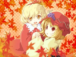 Rating: Safe Score: 12 Tags: aki_minoriko aki_shizuha autumn food fruit hat leaves touhou User: Oyashiro-sama