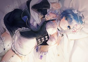 Rating: Safe Score: 125 Tags: apron bed blue_eyes blue_hair blush breasts cleavage flowers garter_belt headdress maid minncn petals rem_(re:zero) re:zero_kara_hajimeru_isekai_seikatsu short_hair stockings User: otaku_emmy
