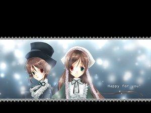 Rating: Safe Score: 3 Tags: 2girls bicolored_eyes brown_hair rozen_maiden souseiseki suiseiseki twins User: Oyashiro-sama