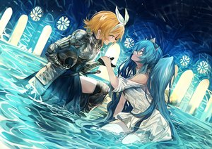 Rating: Safe Score: 58 Tags: 2girls aqua_hair armor blonde_hair boots daro_(645046276) dress gloves hatsune_miku headband kagamine_rin long_hair short_hair sword thighhighs tiara twintails vocaloid water weapon User: RyuZU