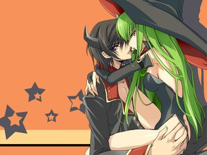 Rating: Safe Score: 96 Tags: black_hair cc code_geass creayus green_hair halloween hat lelouch_lamperouge long_hair male purple_eyes short_hair yellow_eyes User: Tensa