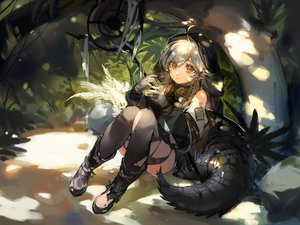 Rating: Safe Score: 66 Tags: arknights boots ciloranko forest gloves goggles gray_hair hoodie long_hair orange_eyes pointed_ears sketch staff tail thighhighs tomimi_(arknights) tree User: Nepcoheart