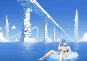 Rating: Safe Score: 105 Tags: bikini blue blue_eyes blue_hair clouds izumi_sai original sky swimsuit water User: HawthorneKitty