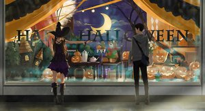 Rating: Safe Score: 21 Tags: black_hair boots brown_hair dress halloween hat long_hair male original pumpkin short_hair somehira_katsu teddy_bear twintails witch_hat wristwear User: RyuZU