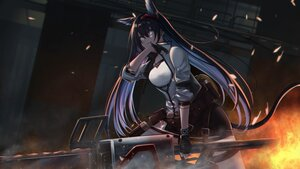 Rating: Safe Score: 47 Tags: animal_ears aqua_eyes arknights blaze_(arknights) blitzkrieg_(index_unknown) catgirl chainsaw fire gloves long_hair tail weapon User: Nepcoheart