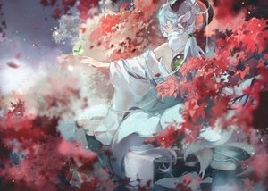 Rating: Safe Score: 67 Tags: animal_ears blindfold horns leaves luo_tianyi mikka620 multiple_tails tail vocaloid vocaloid_china User: FormX