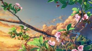 Rating: Safe Score: 103 Tags: cherry_blossoms clouds flowers nobody original sky sunset tree yuu_knmy User: RyuZU