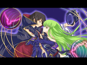 Rating: Safe Score: 40 Tags: cape cc code_geass elbow_gloves gloves green_hair hug kannazuki_no_miko lelouch_lamperouge long_hair male parody yellow_eyes User: korokun
