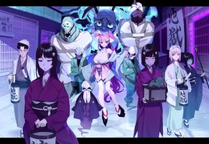 Rating: Safe Score: 37 Tags: aliasing bicolored_eyes black_hair blonde_hair breasts building city green_eyes group japanese_clothes kamameshi_gougoumaru katana kimono long_hair male original pink_hair short_hair skull socks staff sword weapon User: otaku_emmy