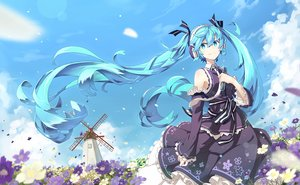 Rating: Safe Score: 144 Tags: aqua_eyes aqua_hair flowers hatsune_miku headphones lf long_hair microphone petals ribbons scenic skirt tie twintails vocaloid windmill User: Flandre93