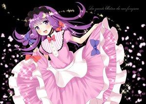 Rating: Safe Score: 73 Tags: bow dress patchouli_knowledge petals pokachu purple_eyes purple_hair touhou User: opai