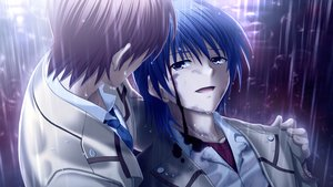 Rating: Safe Score: 24 Tags: all_male angel_beats! game_cg hinata_hideki key male na-ga otonashi_yuzuru rain water User: Tensa