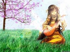 Rating: Safe Score: 34 Tags: brown_hair clouds flowers grass instrument long_hair petals scenic sky tree User: Oyashiro-sama