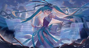 Rating: Safe Score: 66 Tags: aqua_eyes aqua_hair boots building clouds hatsune_miku kin_toki signed sky spica_(vocaloid) thighhighs twintails vocaloid User: BattlequeenYume