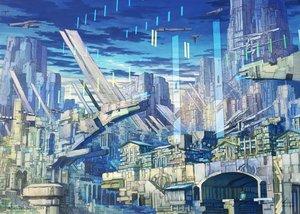 Rating: Safe Score: 13 Tags: airship building city clouds jpeg_artifacts k_kanehira original scenic sky watermark User: RyuZU