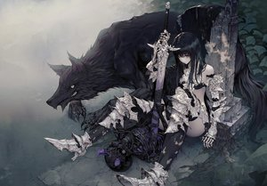 Rating: Safe Score: 149 Tags: animal armor black_hair long_hair original purple_eyes sword thighhighs wanke weapon wolf User: RyuZU