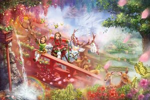 Rating: Safe Score: 82 Tags: 2girls animal bell brown_hair building butterfly dragon fish flowers instrument landscape miyai_haruki original petals rainbow scenic tree twintails water waterfall User: Flandre93
