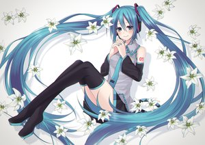 Rating: Safe Score: 12 Tags: blush flowers hatsune_miku midorikawa_rina thighhighs tie twintails vocaloid User: FormX