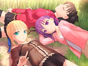 Rating: Safe Score: 26 Tags: artoria_pendragon_(all) black_hair blonde_hair fate_(series) fate/stay_night green_eyes matou_sakura purple_eyes purple_hair saber tohsaka_rin uni User: Oyashiro-sama