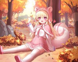 Rating: Safe Score: 39 Tags: animal_ears autumn blonde_hair blush cape fang forest grass hat honyang leaves long_hair original purple_eyes skirt tail thighhighs tree zettai_ryouiki User: BattlequeenYume