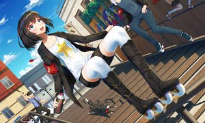 Rating: Safe Score: 40 Tags: animal aqua_eyes black_hair blush boots building cat city clouds glasses hat ji_dao_ji male necklace original police police_uniform short_hair shorts sky sport stairs thighhighs tie User: RyuZU