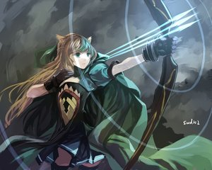 Rating: Safe Score: 165 Tags: animal_ears atalanta_(fate) bow_(weapon) brown_hair cape dress fate/apocrypha fate_(series) gloves green_eyes long_hair signed swd3e2 weapon User: Flandre93