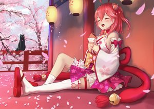 Rating: Safe Score: 49 Tags: animal bell breasts cat cherry_blossoms flowers food hololive petals red_hair roke_(taikodon) sakura_miko short_hair taiyaki thighhighs User: RyuZU
