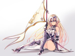Rating: Safe Score: 127 Tags: aliasing aqua_eyes armor blonde_hair boots fate/grand_order fate_(series) gradient headdress jeanne_d'arc_(fate) lee_seok_ho long_hair signed spear sword thighhighs weapon User: Jahta