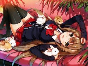 Rating: Safe Score: 286 Tags: animal brown_hair long_hair original rabbit scan school_uniform skirt thighhighs tomose_shunsaku zettai_ryouiki User: Dummy