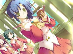 Rating: Safe Score: 6 Tags: blue_hair book favorite game_cg green_eyes happy_margaret! kokonoka nishinomiya_shizuru school_uniform skirt User: 秀悟