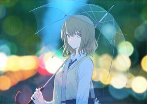 Rating: Safe Score: 50 Tags: brown_hair original rain ryuga_(balius) seifuku short_hair signed tie umbrella water yellow_eyes User: RyuZU