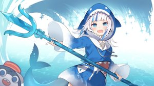 Rating: Safe Score: 36 Tags: animal aqua_eyes dress fish flat_chest gawr_gura hase_neet hololive hoodie short_hair tail water weapon white_hair User: otaku_emmy