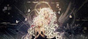 Rating: Safe Score: 19 Tags: 2girls blonde_hair blue_eyes butterfly gray original white_hair User: HawthorneKitty