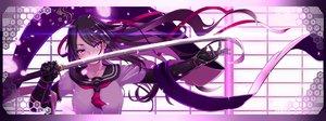 Rating: Safe Score: 128 Tags: black_hair dualscreen haiiro_gundan katana long_hair original petals purple_eyes ribbons school_uniform sword weapon User: SciFi