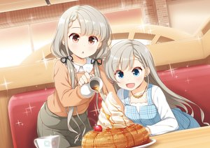 Rating: Safe Score: 52 Tags: 2girls blue_eyes blush braids cherry food fruit gray_hair hisakawa_hayate hisakawa_nagi idolmaster idolmaster_cinderella_girls jpeg_artifacts long_hair necklace red_eyes twins twintails yume_no_owari User: otaku_emmy