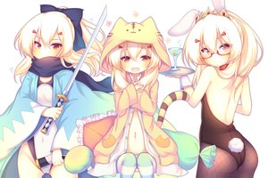 Rating: Safe Score: 64 Tags: animal_ears anthropomorphism ass ayanami_(azur_lane) azur_lane blonde_hair bodysuit bow bunny_ears bunnygirl cameltoe cherry cosplay drink fang fate/grand_order fate_(series) food fruit glasses japanese_clothes katana long_hair navel orange_eyes pantyhose ponytail sakurato_ototo_shizuku scarf swimsuit sword tail tiara weapon User: otaku_emmy
