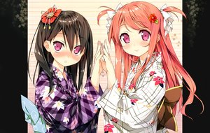 Rating: Safe Score: 392 Tags: 2girls 5_nenme_no_houkago black_hair blush bow japanese_clothes kantoku kurumi_(kantoku) long_hair orange_hair original photoshop pink_eyes scan shizuku_(kantoku) yukata User: Dummy