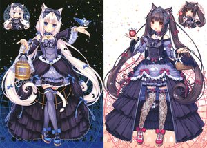 Rating: Safe Score: 195 Tags: black_hair blue_eyes blush brown_eyes cage catgirl cat_smile chocola_(sayori) choker dress lolita_fashion long_hair original photoshop sayori scan tail thighhighs twintails vanilla_(sayori) white_hair User: SciFi