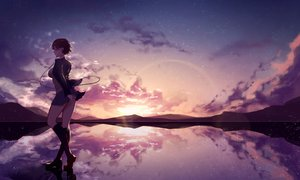 Rating: Safe Score: 79 Tags: brown_hair clouds headphones kisui_(user_wswf3235) kneehighs original reflection short_hair skirt sky stars sunset User: BattlequeenYume