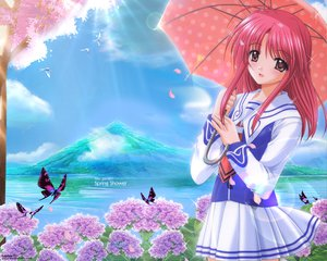Rating: Safe Score: 22 Tags: agatsuma_mizuki brown_eyes butterfly cherry_blossoms flowers nishimata_aoi pink_hair school_uniform umbrella yumeria User: Oyashiro-sama