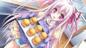 Rating: Safe Score: 97 Tags: apron food game_cg gloves long_hair lump_of_sugar moekibara_fumitake oumi_kokoro pink_eyes pink_hair ribbons sekai_to_sekai_no_mannaka_de User: C4R10Z123GT