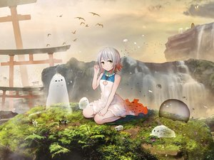 Rating: Safe Score: 44 Tags: akky_(akimi1127) animal bird dress grass gray_hair green_eyes leaves original short_hair torii water waterfall User: luckyluna