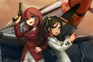 Rating: Safe Score: 61 Tags: 2girls aircraft black_hair blue_eyes bow charlotte_e_yeager choker fang francesca_lucchini green_eyes gun long_hair noconol red_hair strike_witches twintails uniform weapon User: STORM