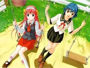Rating: Safe Score: 1 Tags: blue_eyes blue_hair brown_eyes kokoro_no_tobira pink_hair school_uniform User: Oyashiro-sama