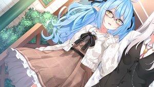 Rating: Safe Score: 22 Tags: 2girls blue_hair bow chiyonekoko dress glasses gray_hair hololive long_hair pointed_ears shishiro_botan shoujo_ai yellow_eyes yukihana_lamy User: BattlequeenYume